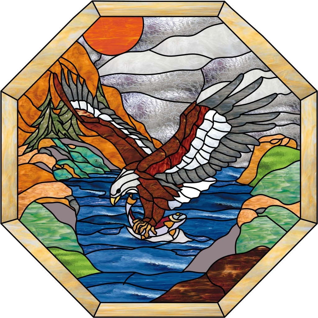 So Nice Alaskan Eagle Fishing At Sunset Stained Glass
