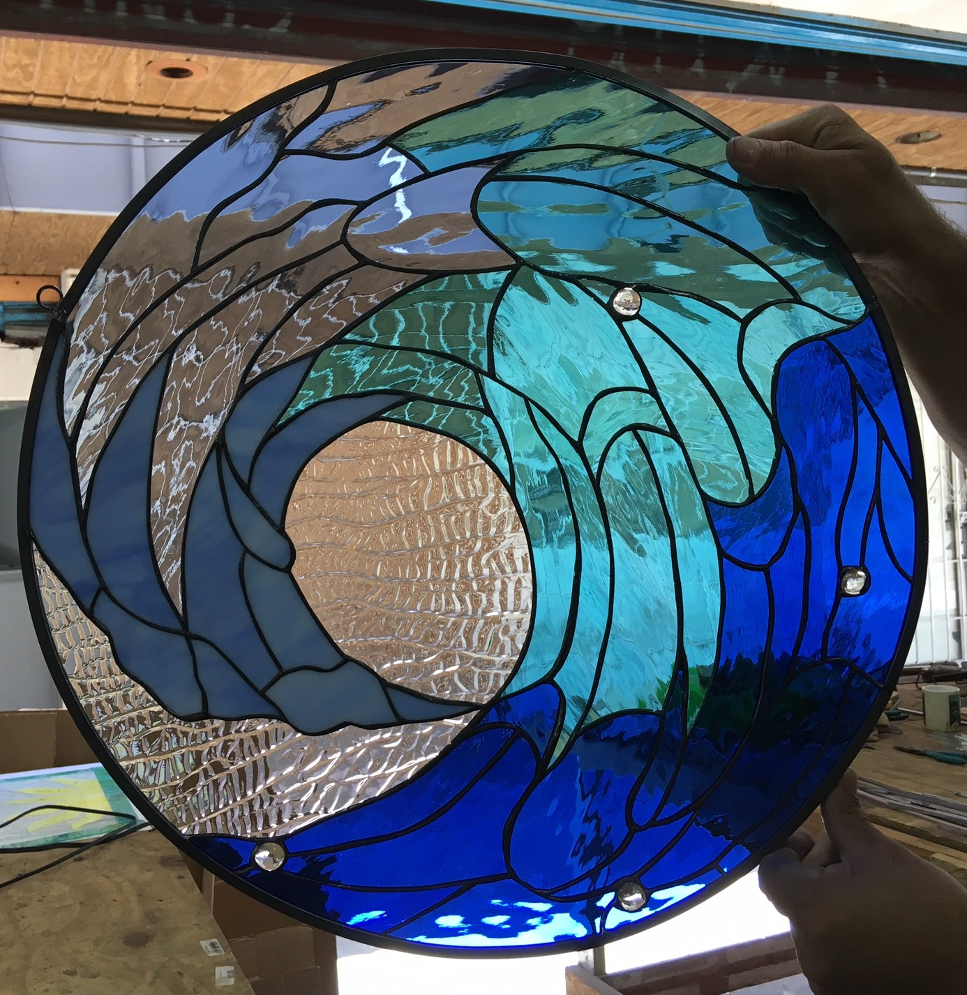 Deep Blue Cresting Ocean Wave Leaded Stained Glass Window