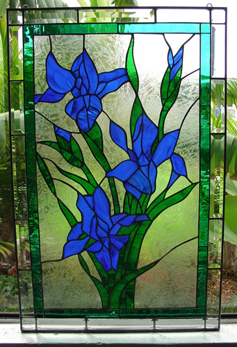 Elegant Iris Leaded Stained Glass Window Panel