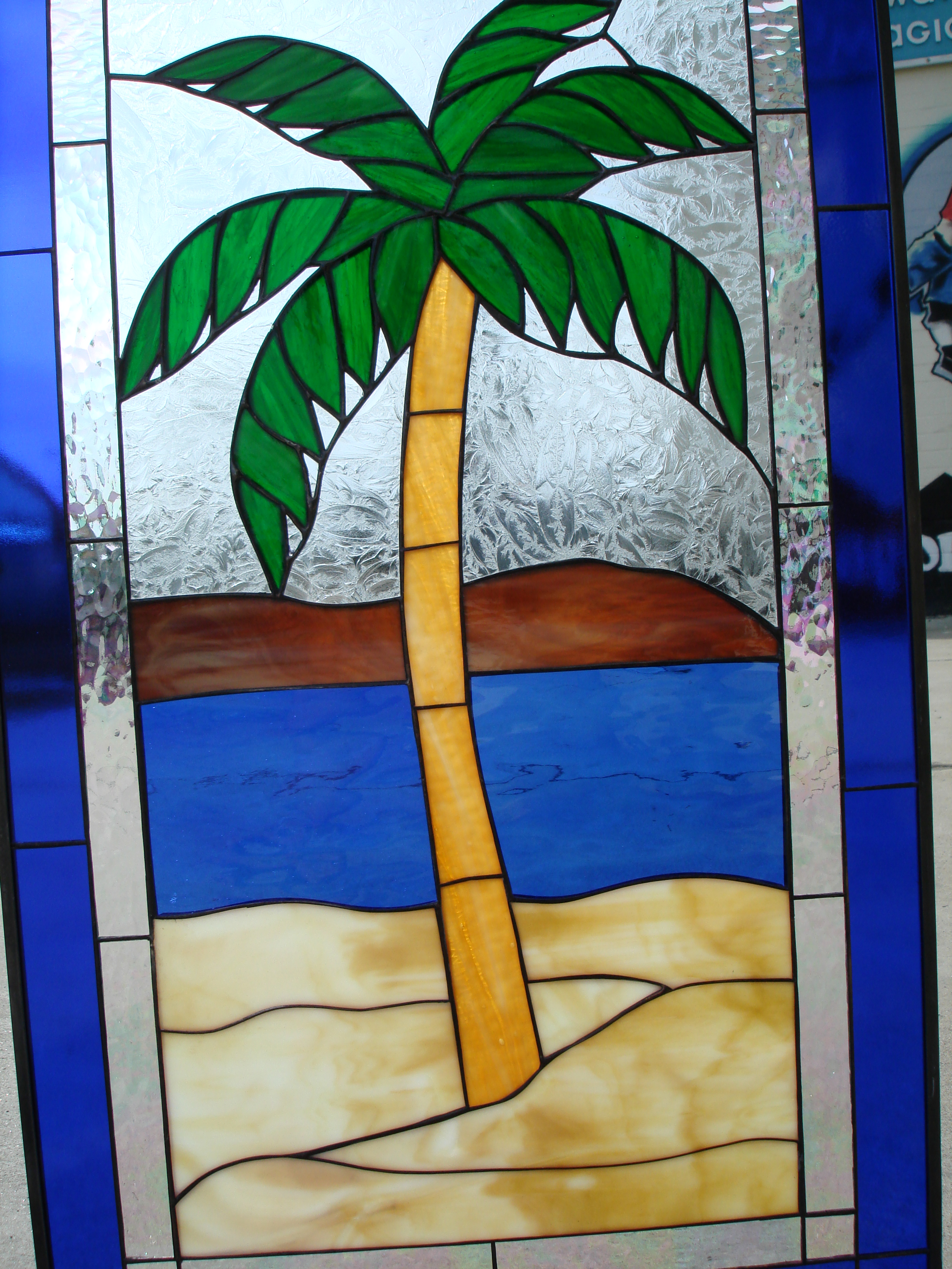 Island Palm Tree Leaded Stained Glass Window Panel
