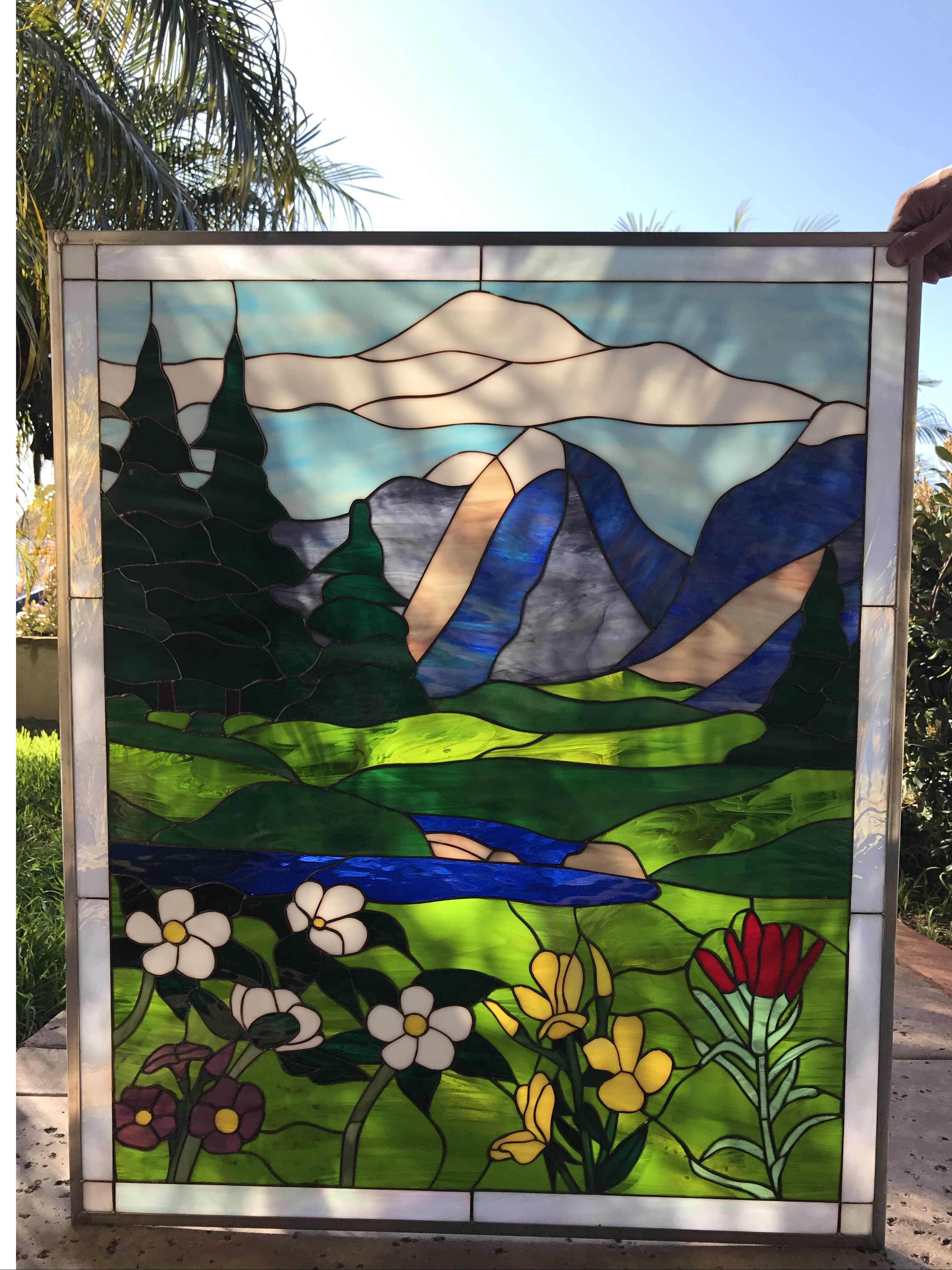Autumn Wildflowers Leaded Stained Glass Window Panel