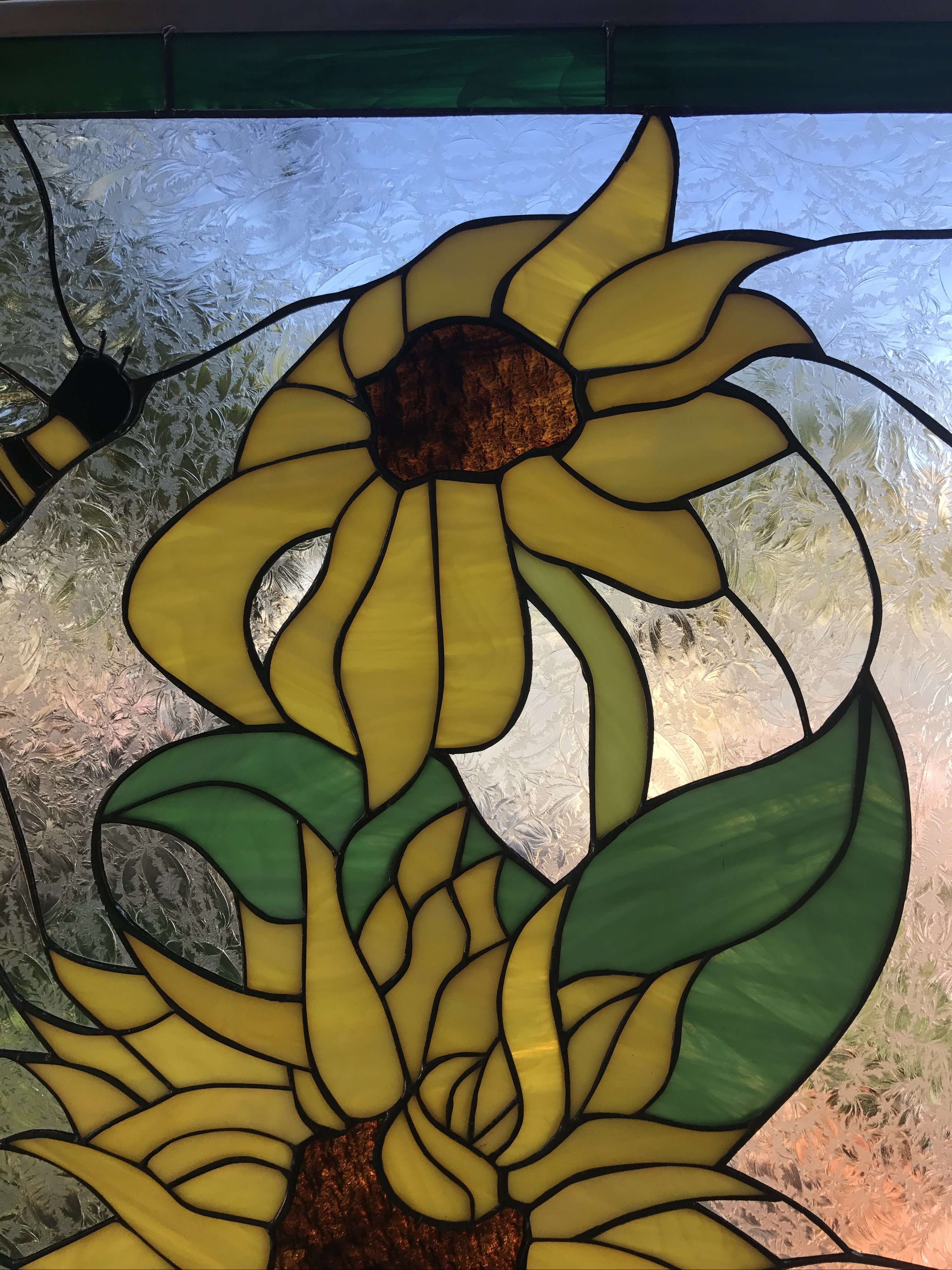 bumble bee  u0026 sunflower leaded stained glass window panel