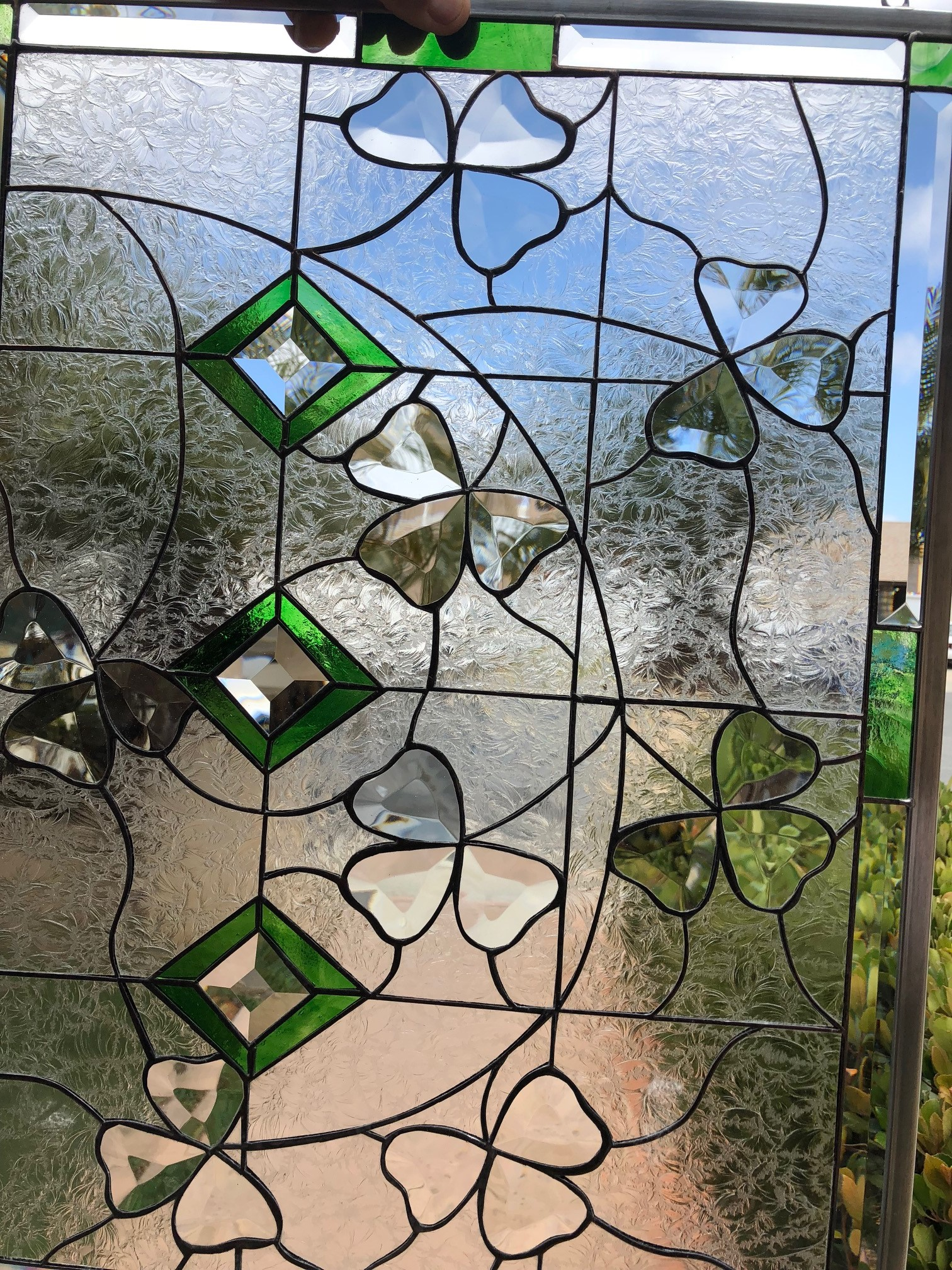 beveled shamrocks leaded stained glass window panel