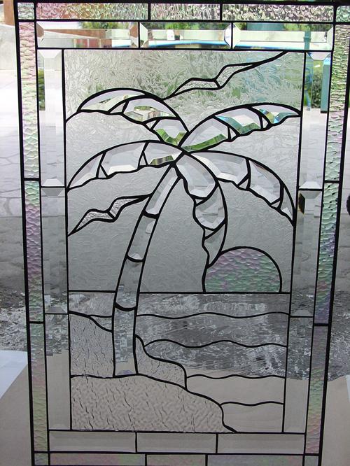 So Beautiful Beveled Glass Palm Tree On Beach Leaded