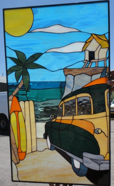 West Coast Woody Beach Car Leaded Stained Glass Window