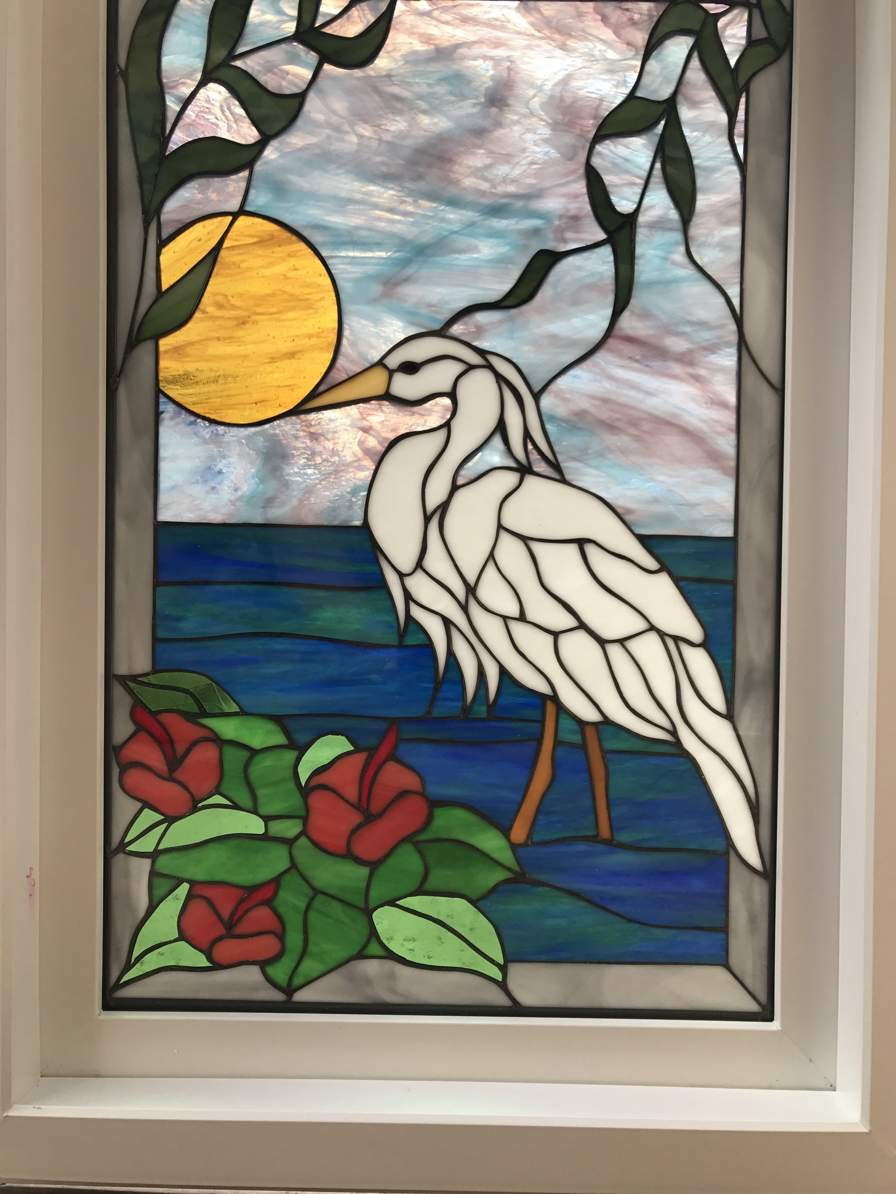Framed Amp Insulated Egret Amp Hibiscus Leaded Stained Glass