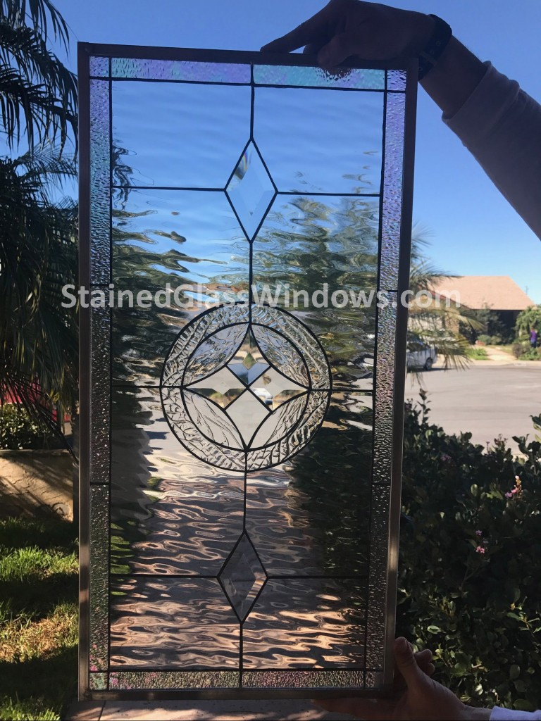 """Clear Leaded Glass : """"la habra clear crystal beveled leaded stained glass"""