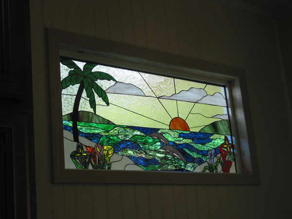 Stained glass window installed in a kitchen for Stained glass kitchen windows