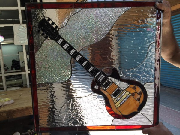 Elec Instrument Glass : Les paul electric guitar leaded stained glass window panel