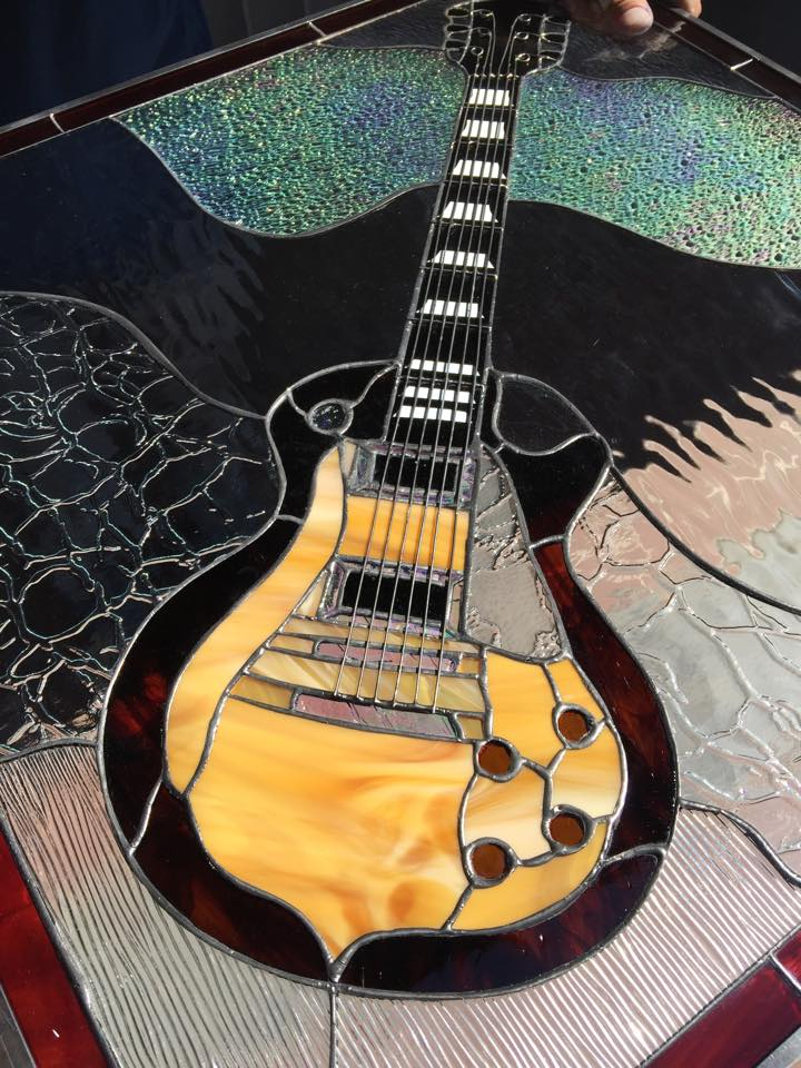 les paul electric guitar leaded stained glass window panel
