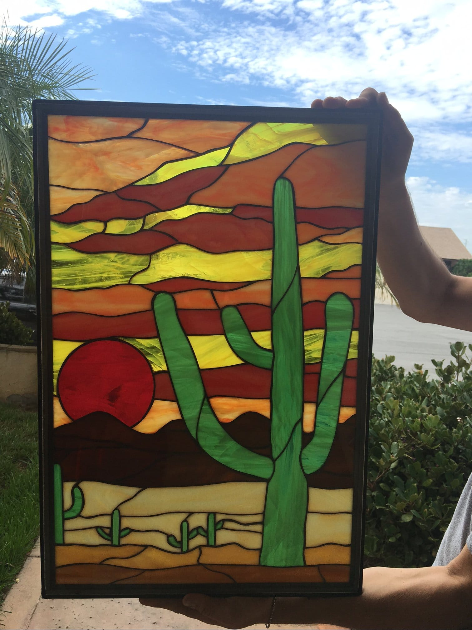 Sedona Sunset Leaded Stained Glass Window Panel Also