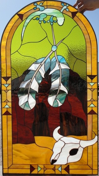 Stained Glass Indian Feathers Amp Lizzard Leaded Stained