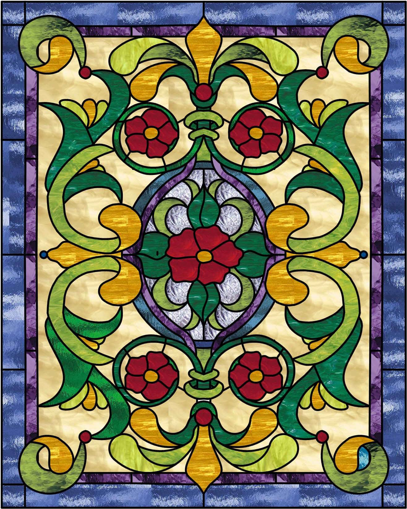 Victorian rose pedals stained glass window panel - Stained glass window designs ...