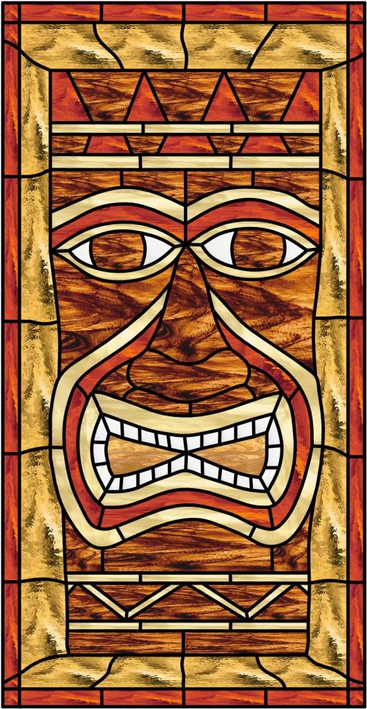 Tiki Leaded Stained Glass Window Panel Also Available
