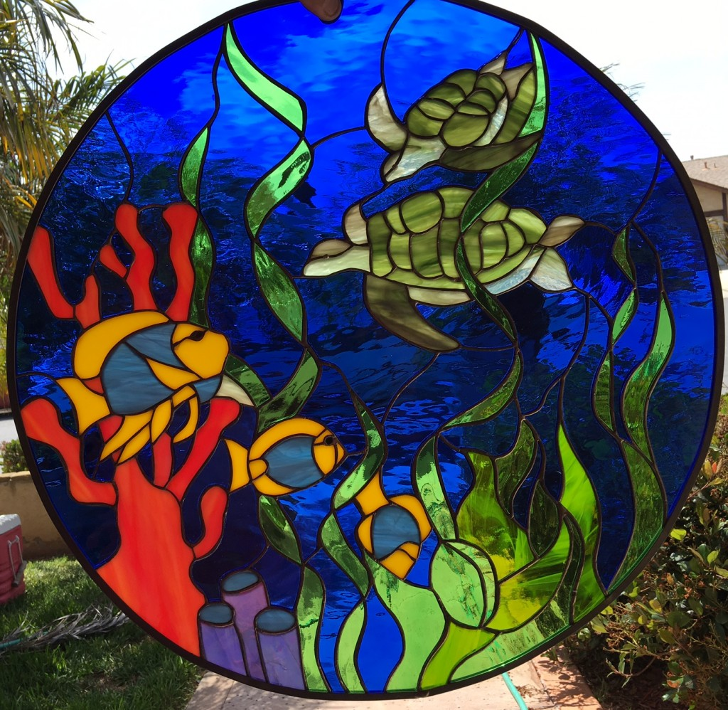 All Original Turtles Amp Coral Stained Leaded Glass Leaded