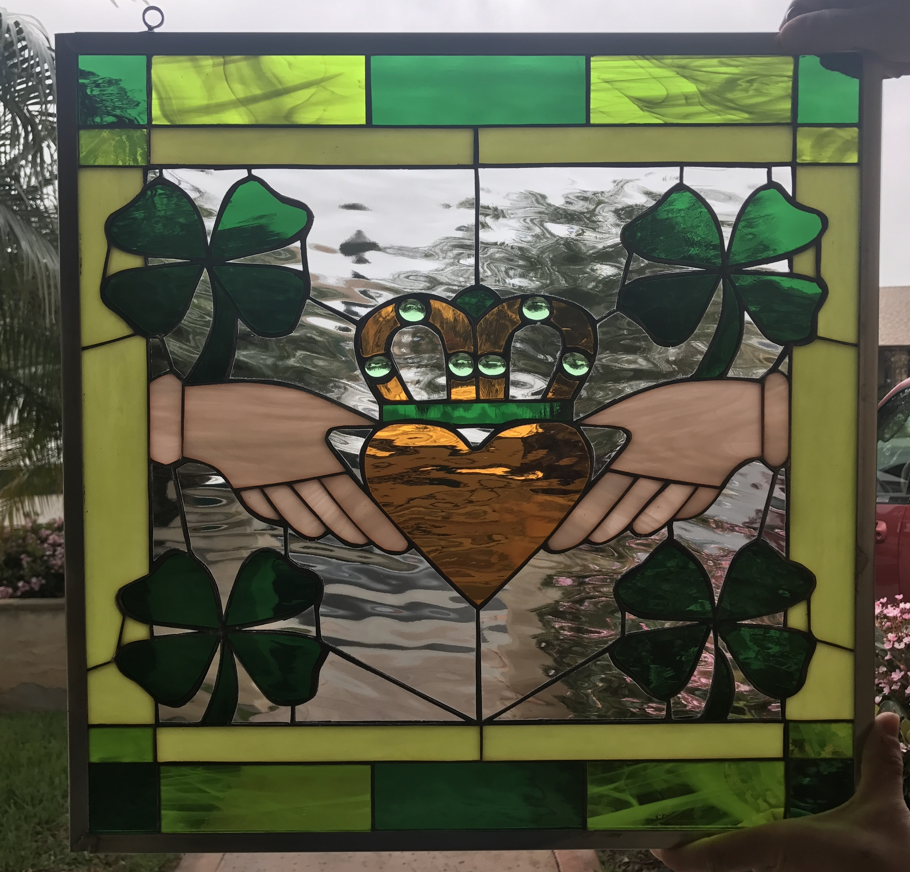 Irish Claddagh Ring Leaded Stained Glass Window Panel