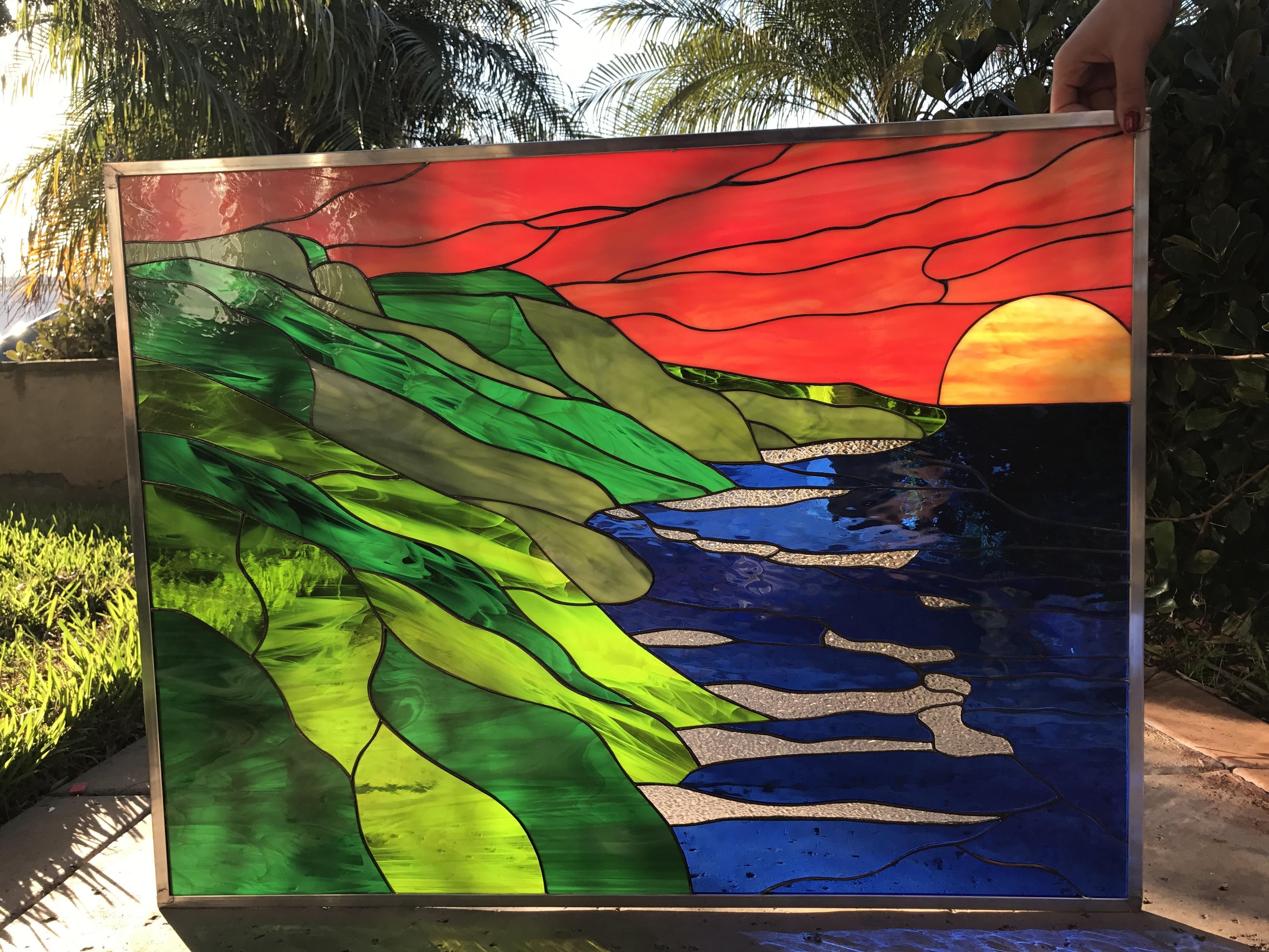 All Original Hawaiian Coastline Amp Sunset Leaded Stained
