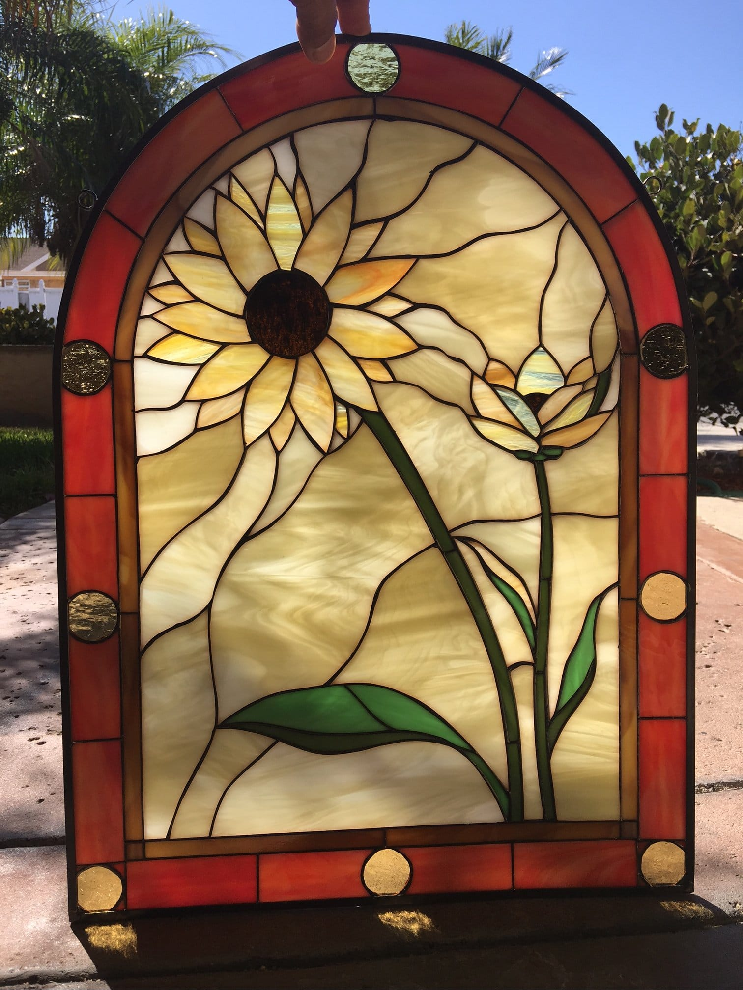 The Quot Sunflower Duo Quot Arched Leaded Stained Glass Window