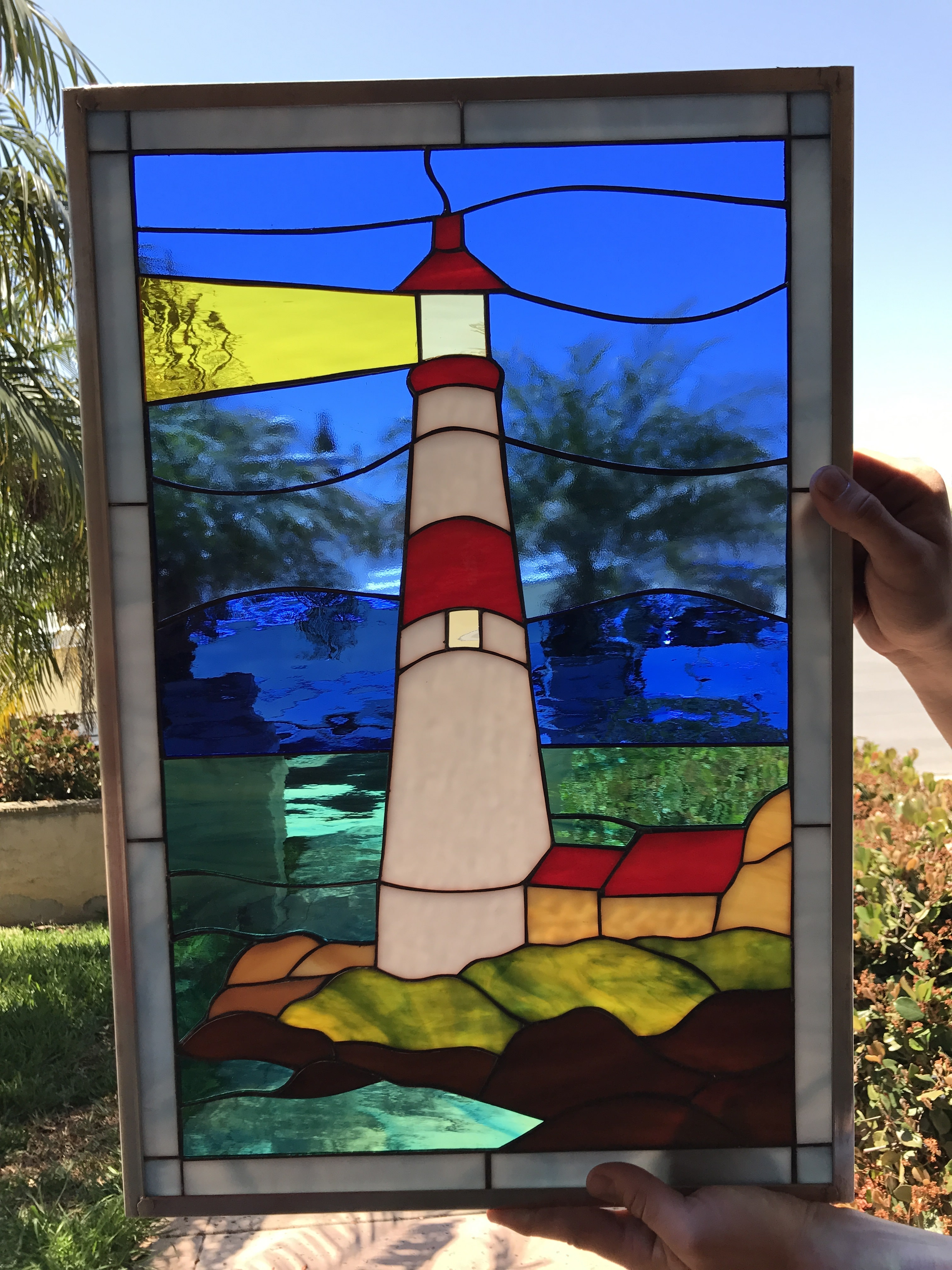 Atlantic Ocean Lighthouse Leaded Stained Glass Window