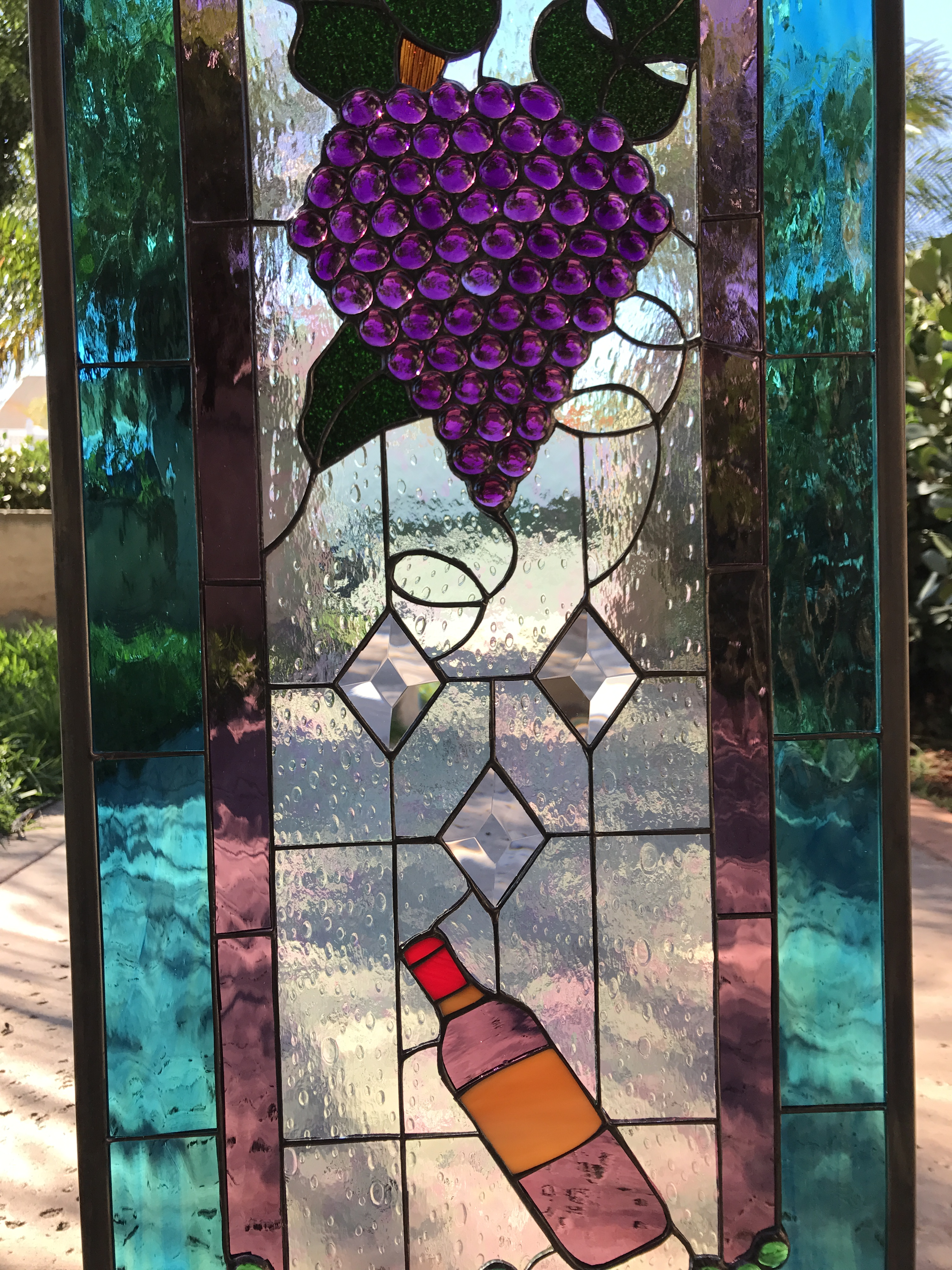 Cheers Wine Bottle Diamonds Amp Grapes Leaded Stained
