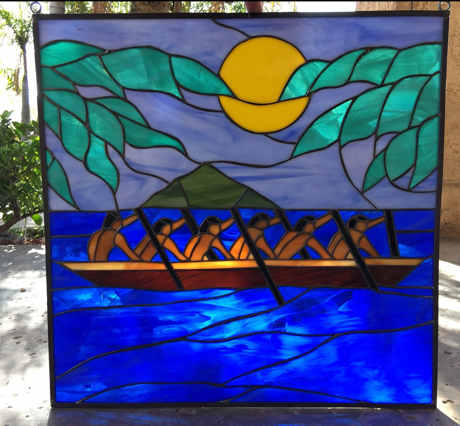 Hawaiian Paddlers Stained Glass Suncatcher Also Available