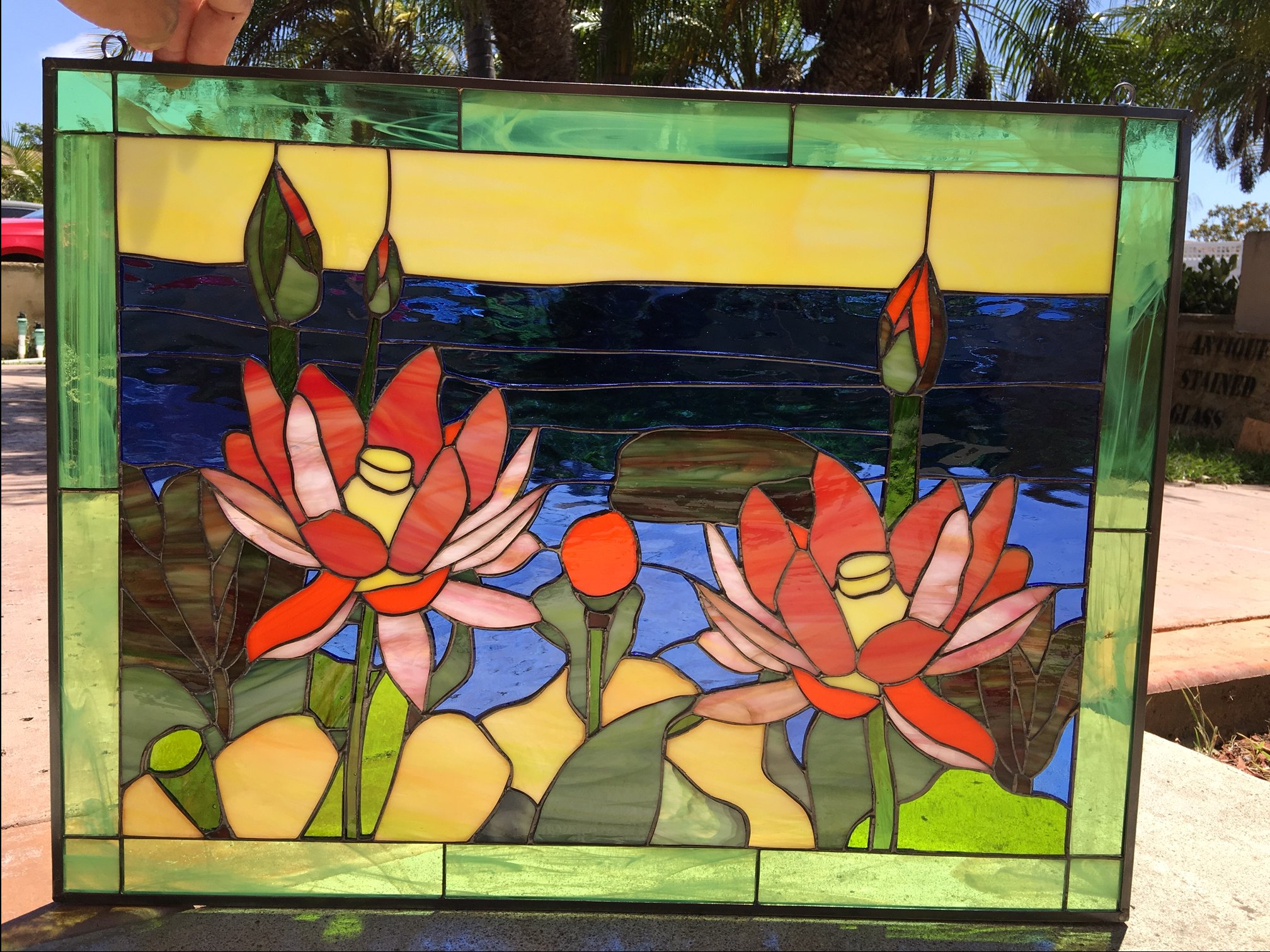 Lovely lotus flowers lake leaded stained glass window panel lotus lotus flowers izmirmasajfo