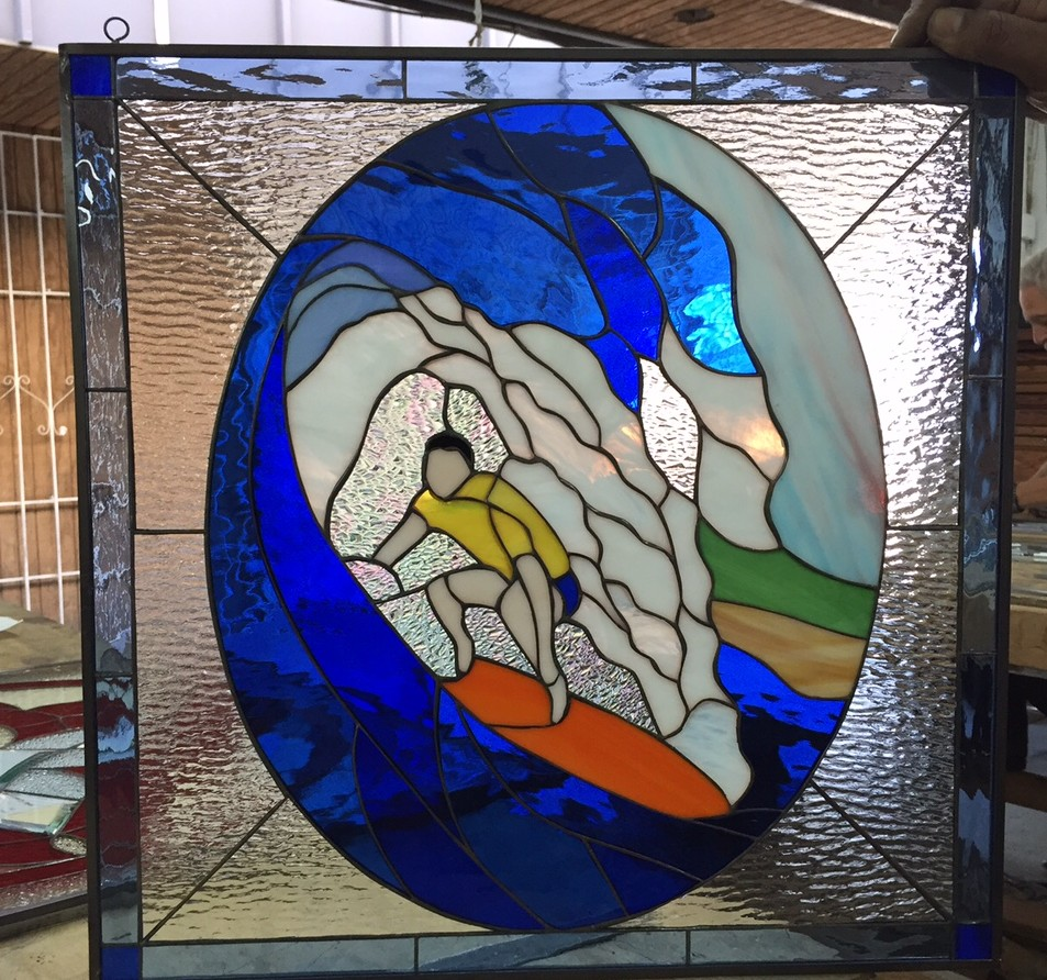 Awesome Quot Blue Room Quot Leaded Stained Glass Surfer Panel