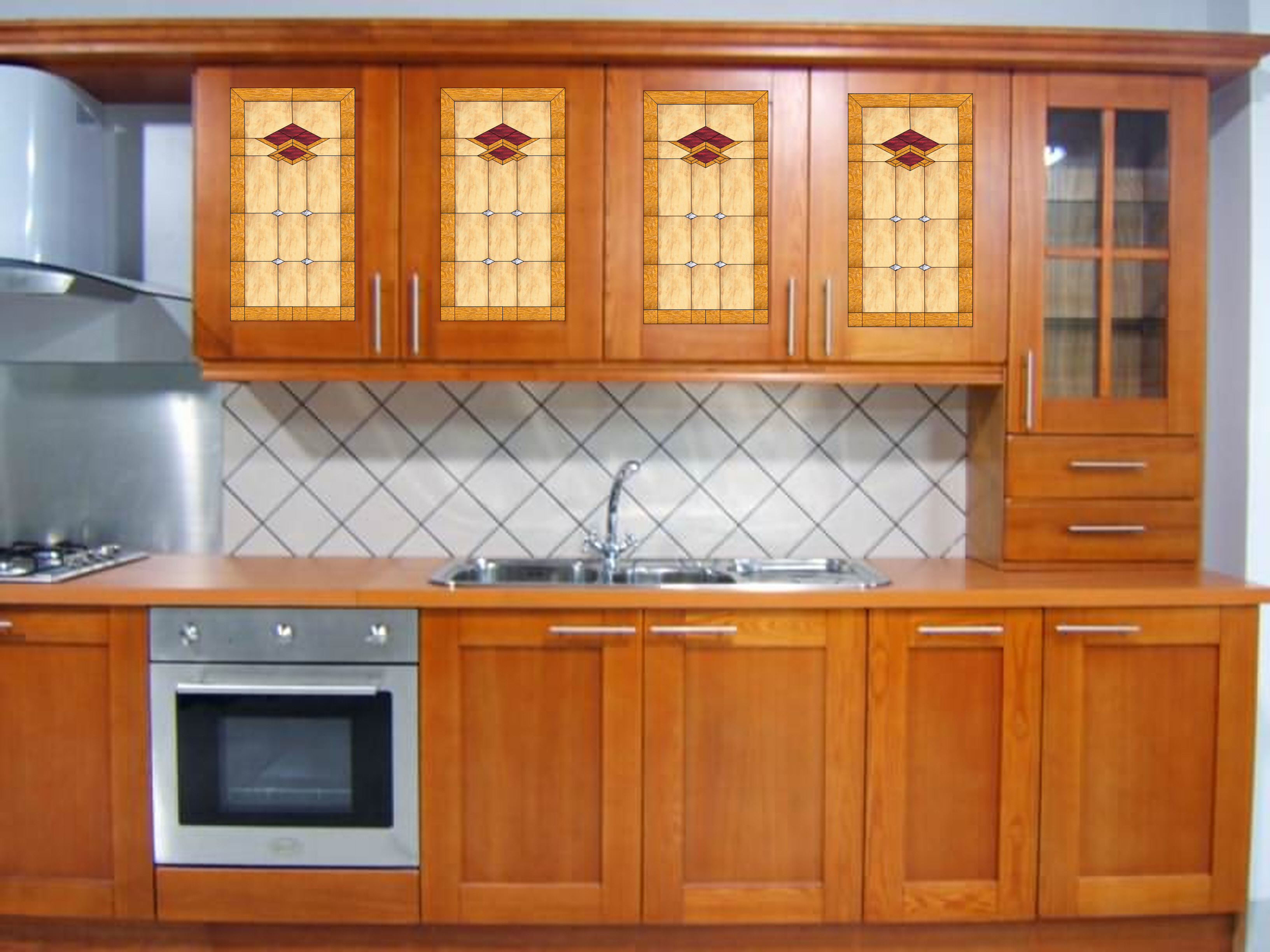 Kitchen stained glass cabinet inserts for Beveled glass kitchen cabinets