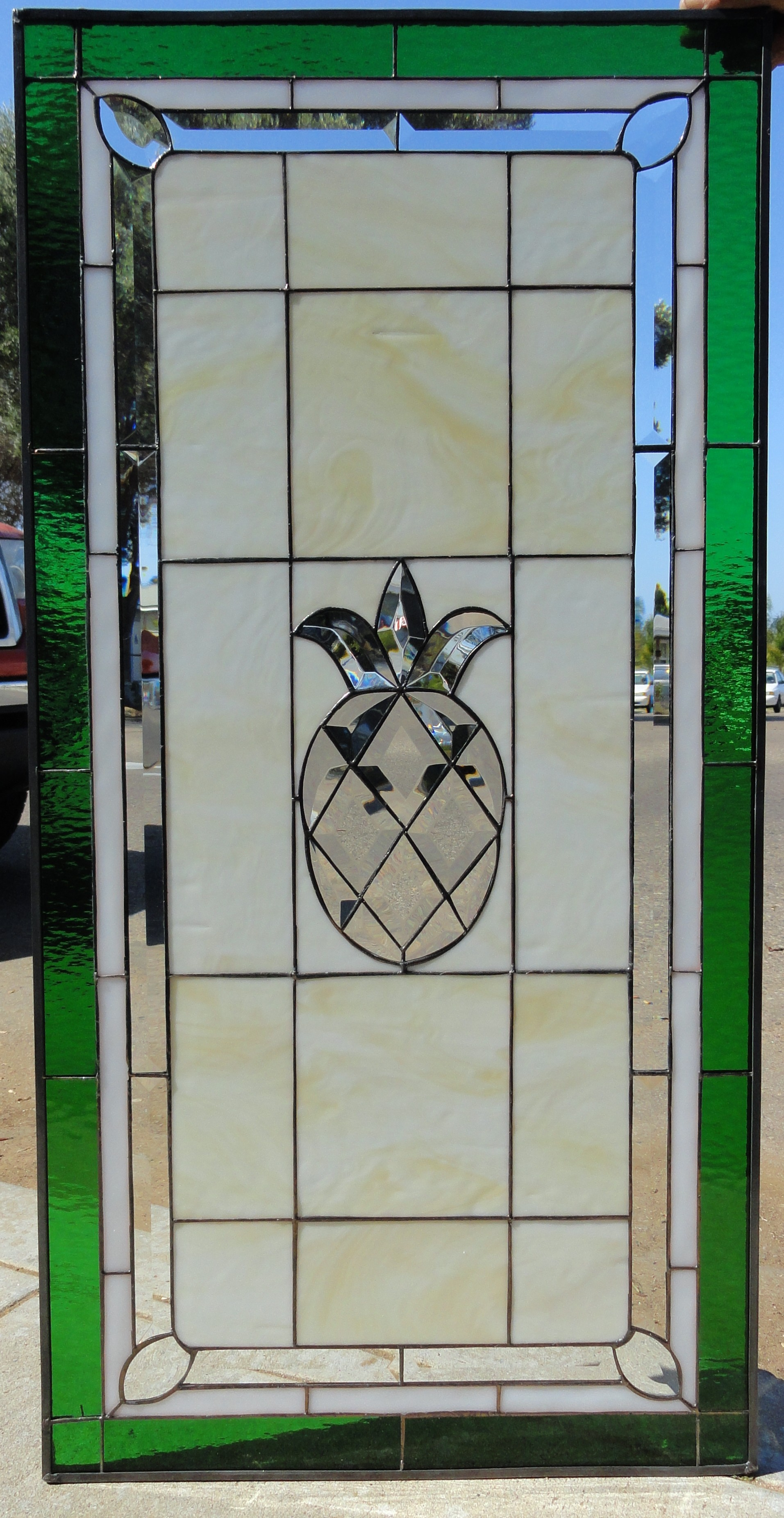 classic pineapple stained glass window panel also