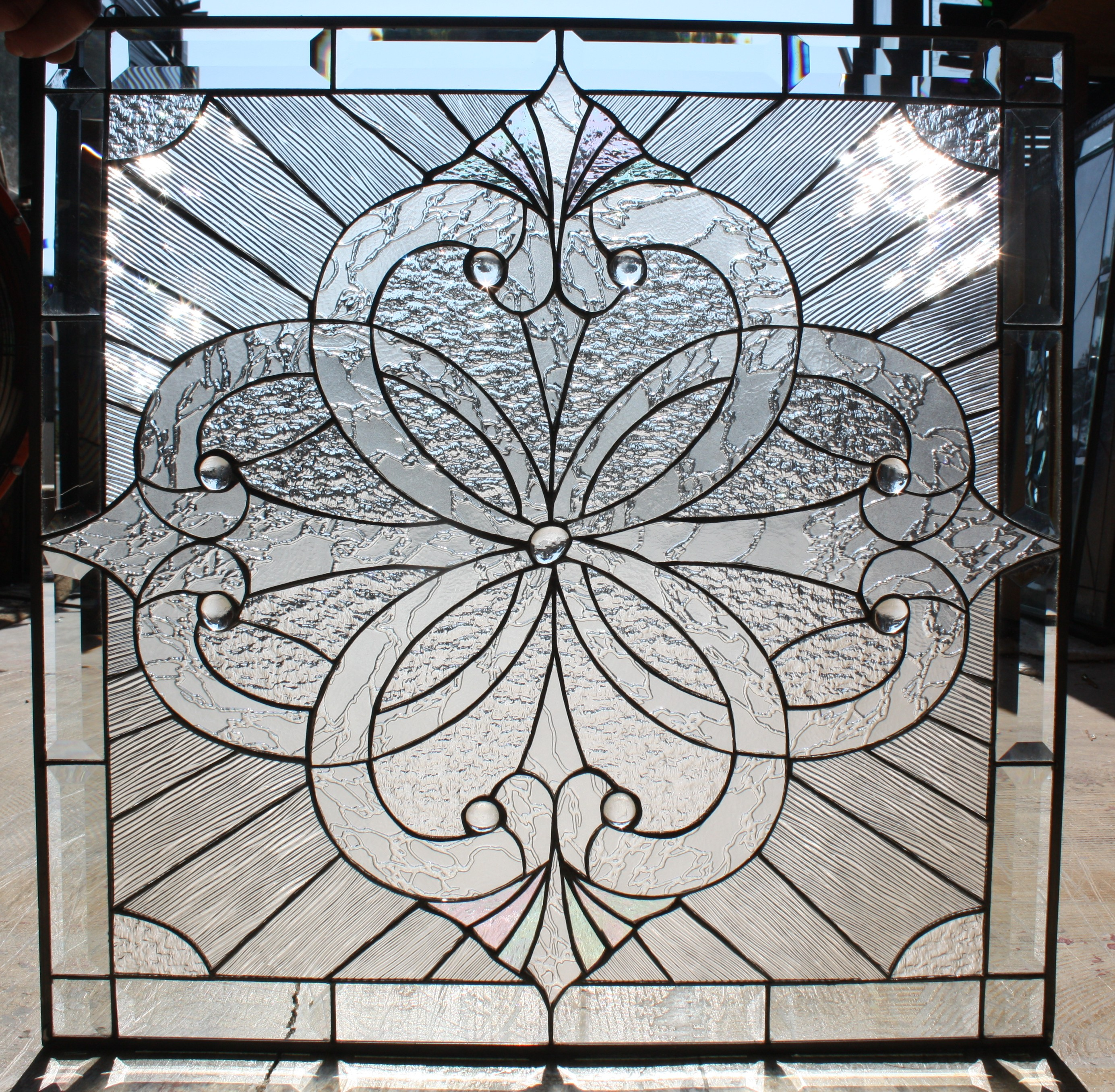 beautiful clear textured stained glass window panel also available