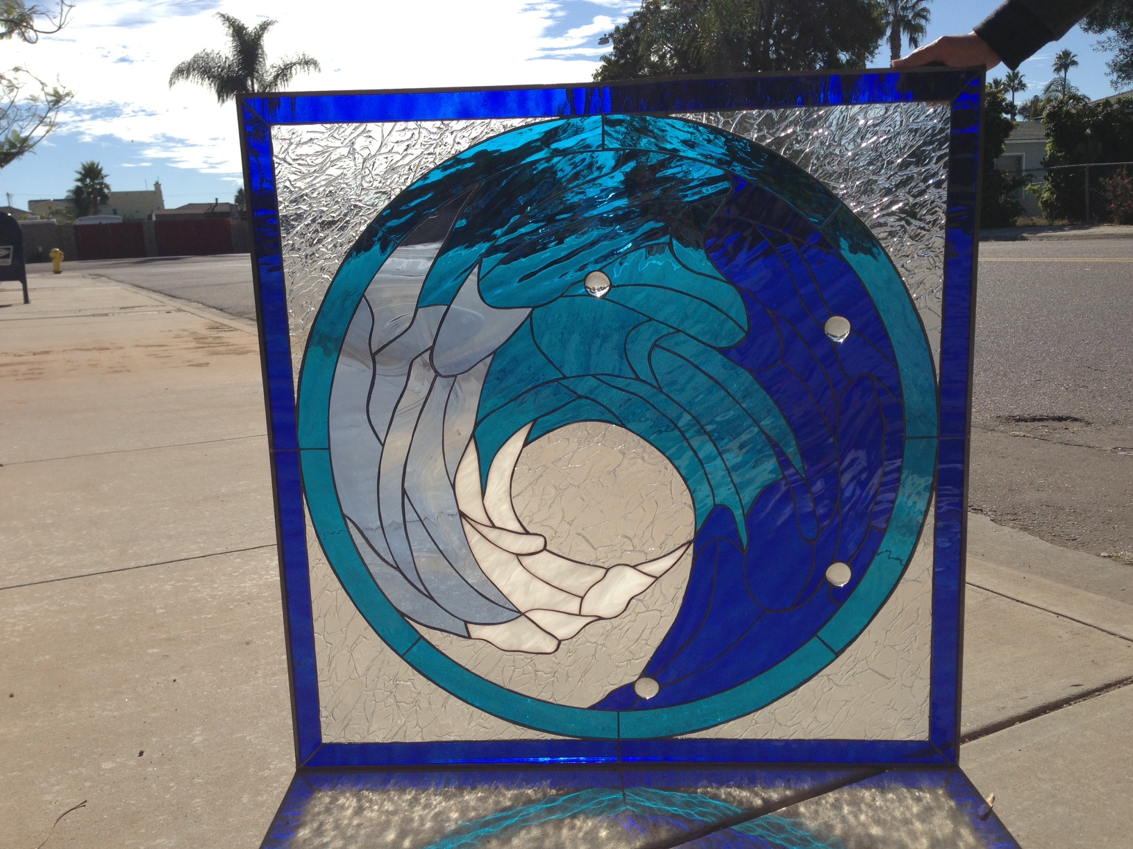 Beautiful Cresting Blue Wave Leaded Stained Glass Window