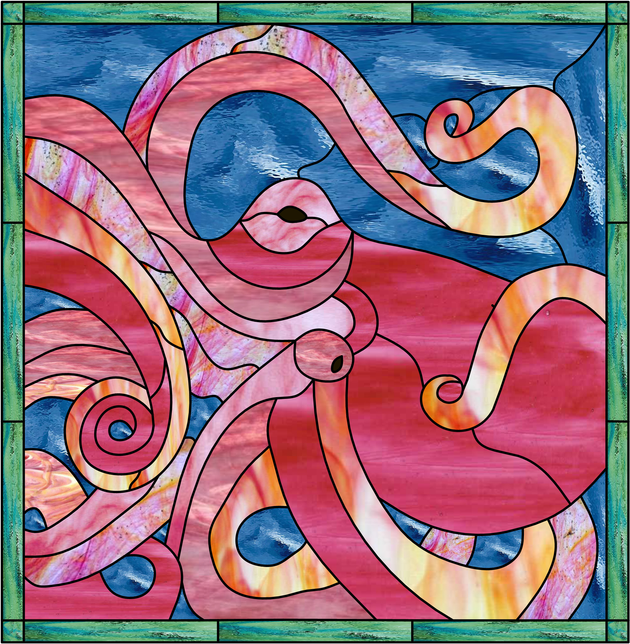 Amazing Octopus Leaded Stained Glass Window Panel