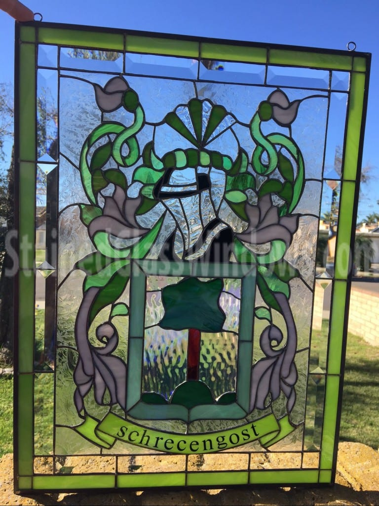 Coat Of Arms With Your Family Name Leaded Stained Glass
