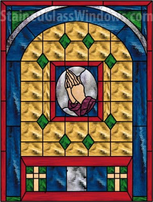 Praying Hands Leaded Stained Glass Church Window Panel Also Available Insulated And Pre Installed In Vinyl Frame 30 X 48