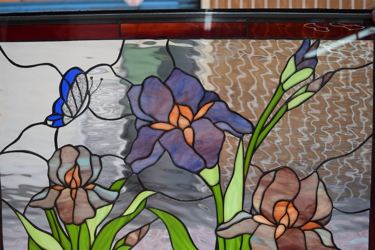 So Beautiful Iris Butterfly And Calla Lily Stained