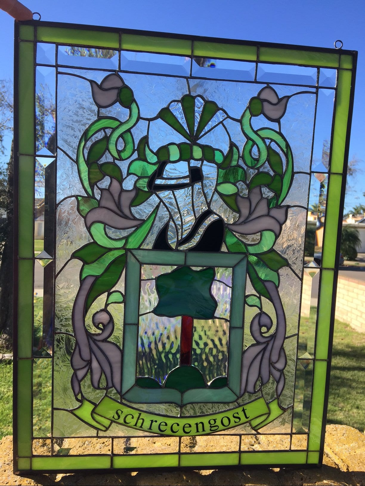 Coat Of Arms Quot With Your Family Name Quot Leaded Stained Glass