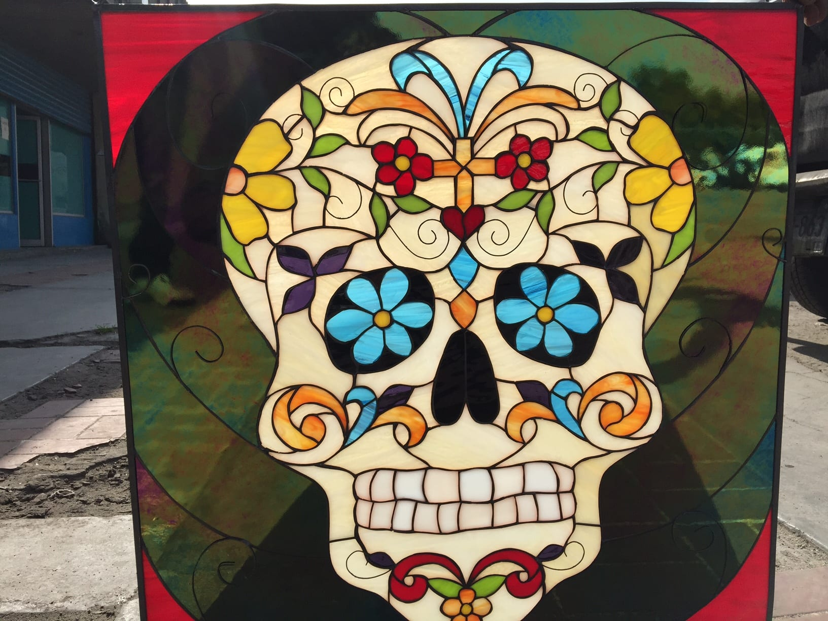 Day Of The Dead Skull Leaded Stained Glass Window Panel