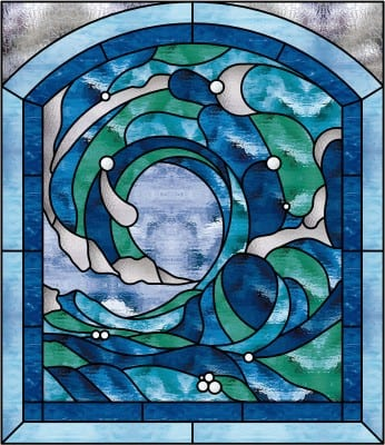 Beautiful Cresting Ocean Wave 2 Stained Gl Window Panel 20 X 26 In