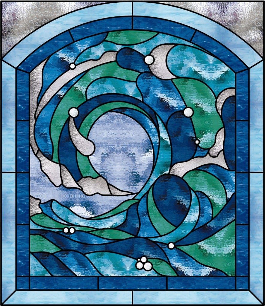 Ocean Color Palette: Beautiful Cresting Ocean Wave #2 Stained Glass Window