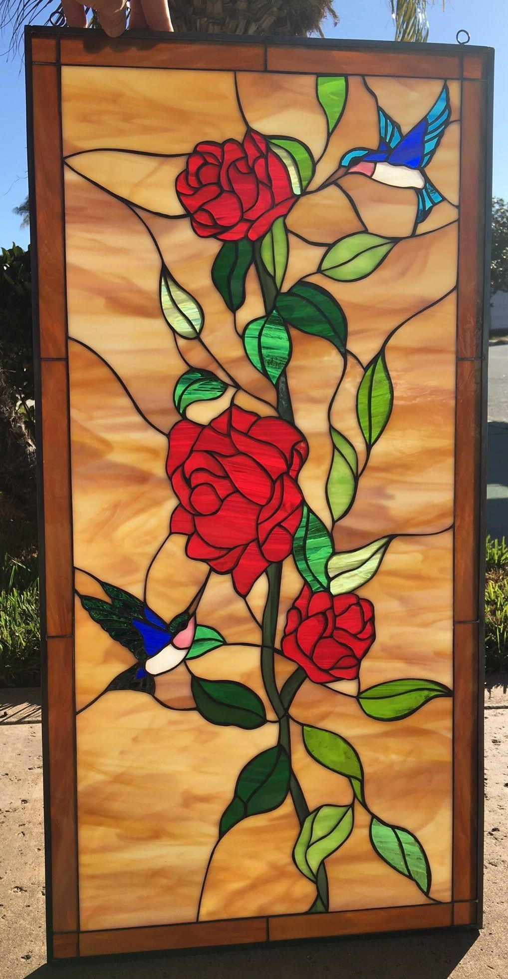 Elegant Hummingbird Amp Red Roses Leaded Stained Glass