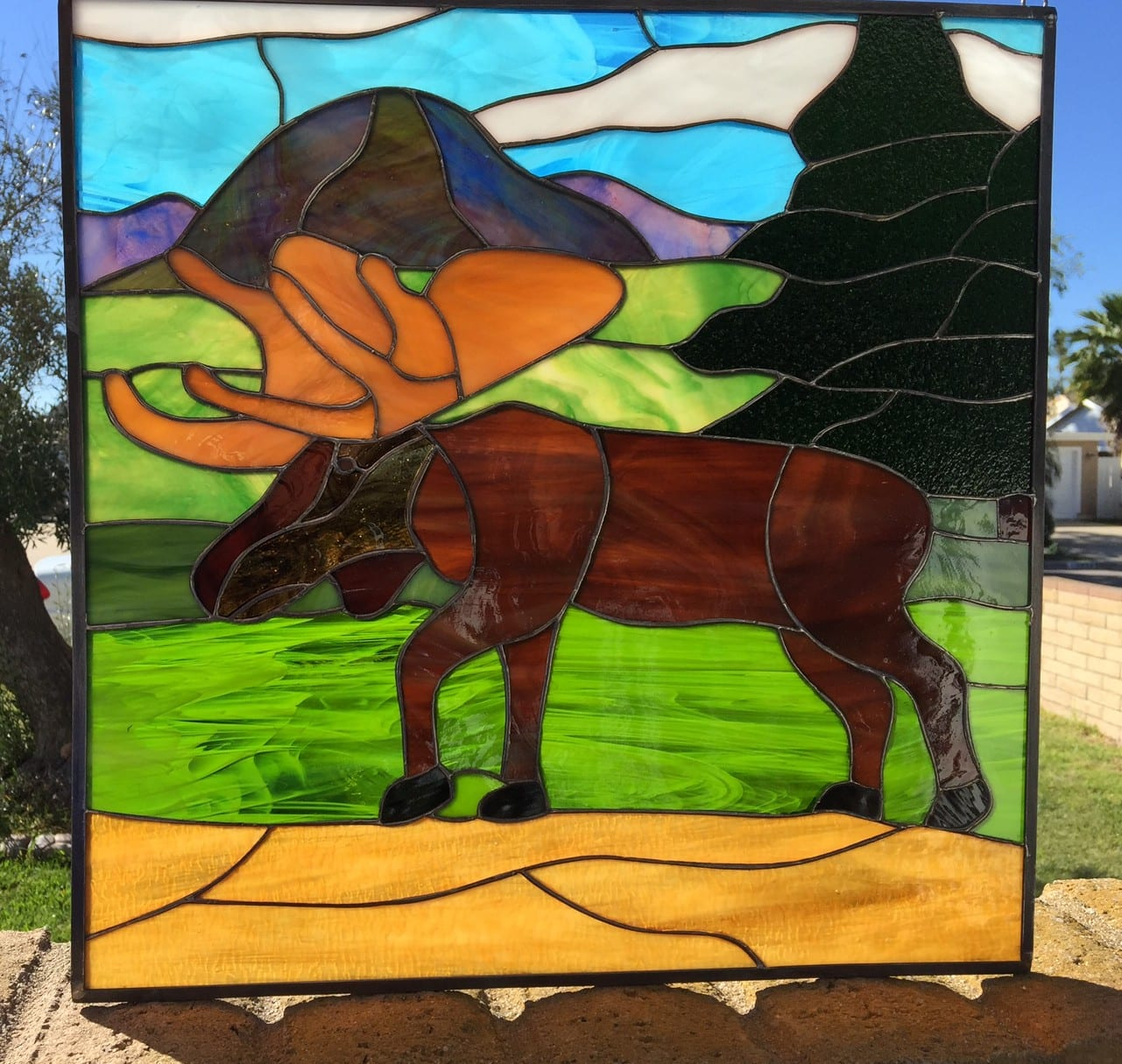moose and pine tress  u0026 mountain stained glass panel  also