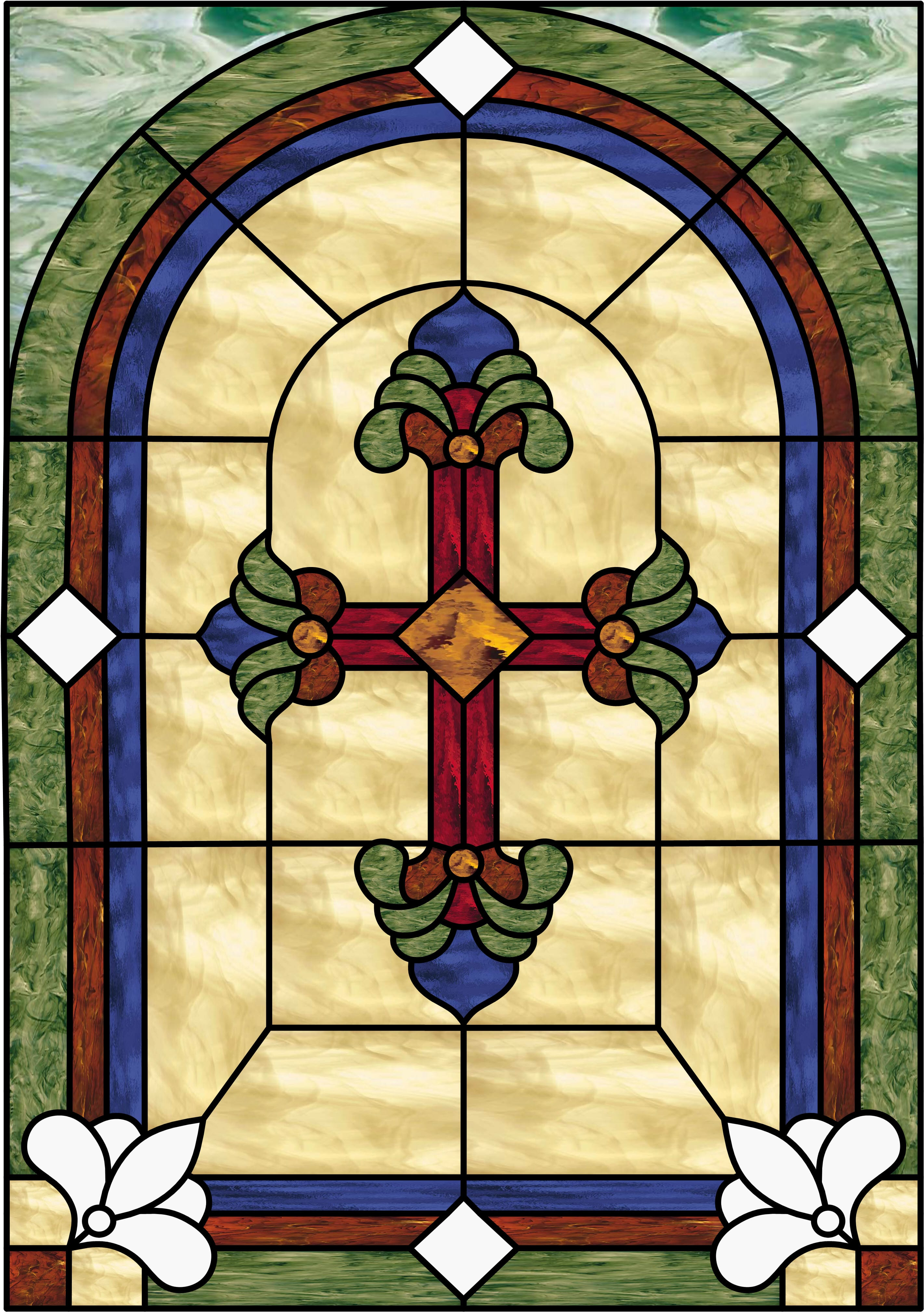 Beautiful Cross Leaded Stained Glass Window Panel