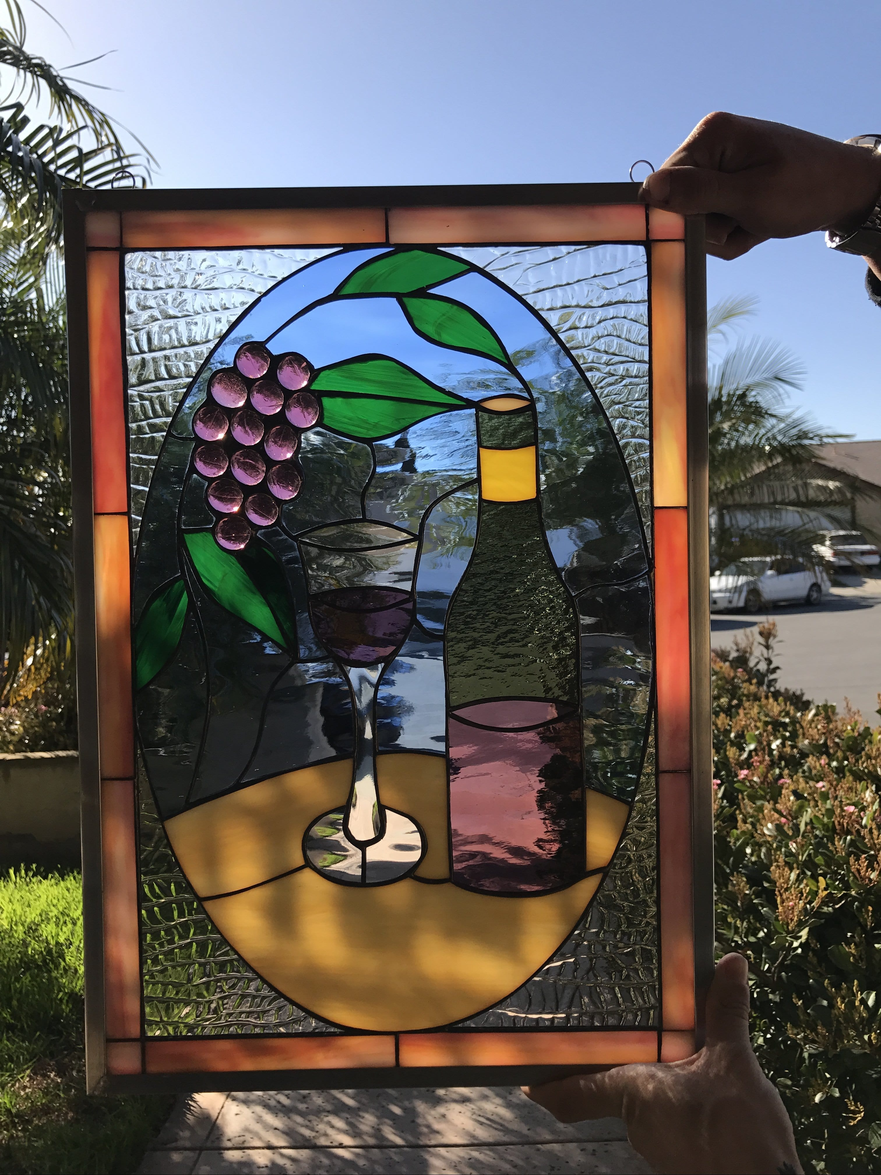 Lovely Stained Glass Wine Bottle Amp Jeweled Grapes