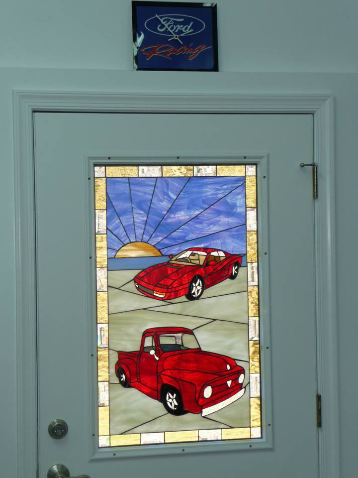 Classic Cars Made Into A Stained Glass Transom Window