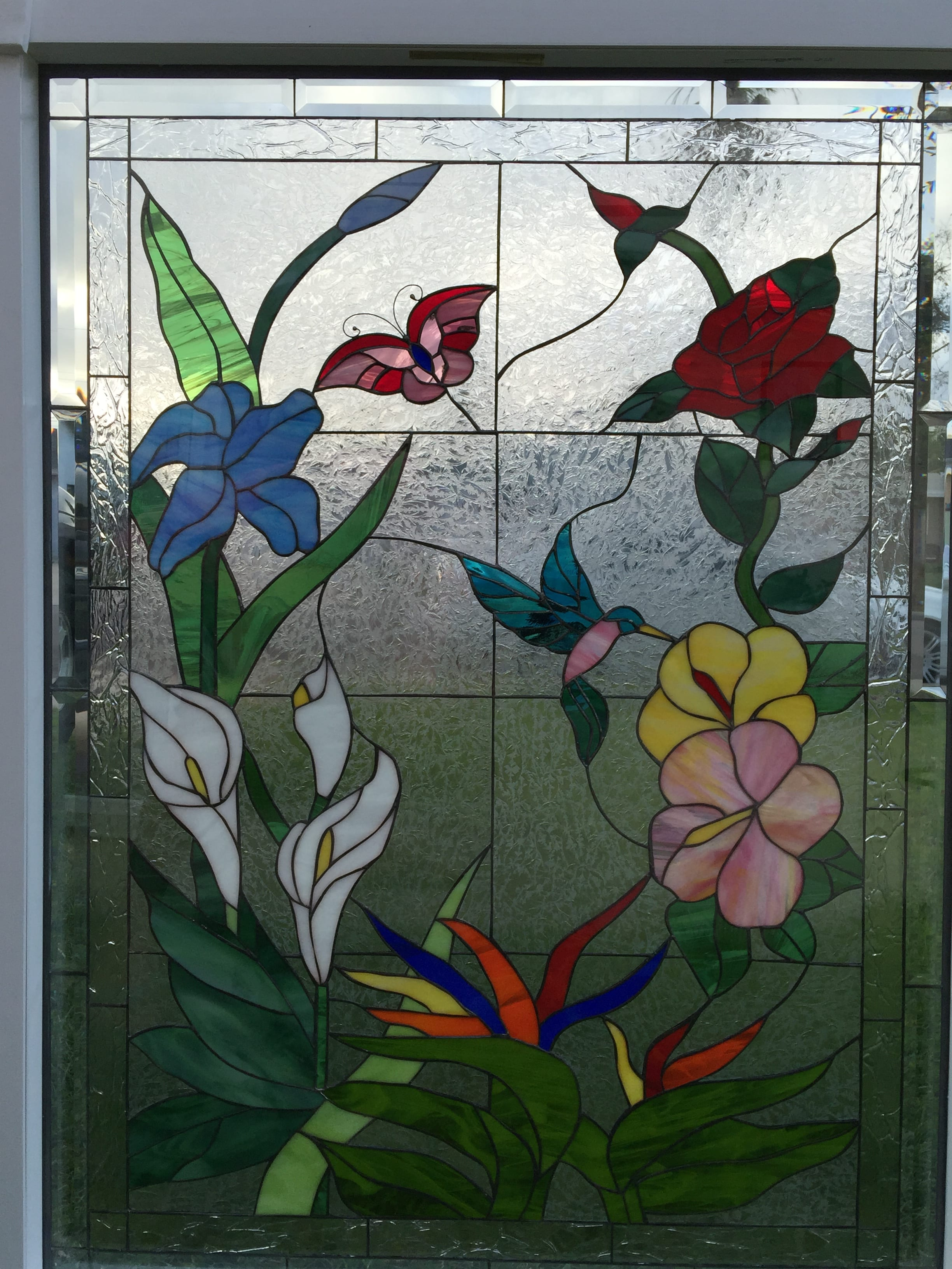 butterfly  hummingbird  u0026 flowers insulated  triple pane  leaded stained glass window panel  pre