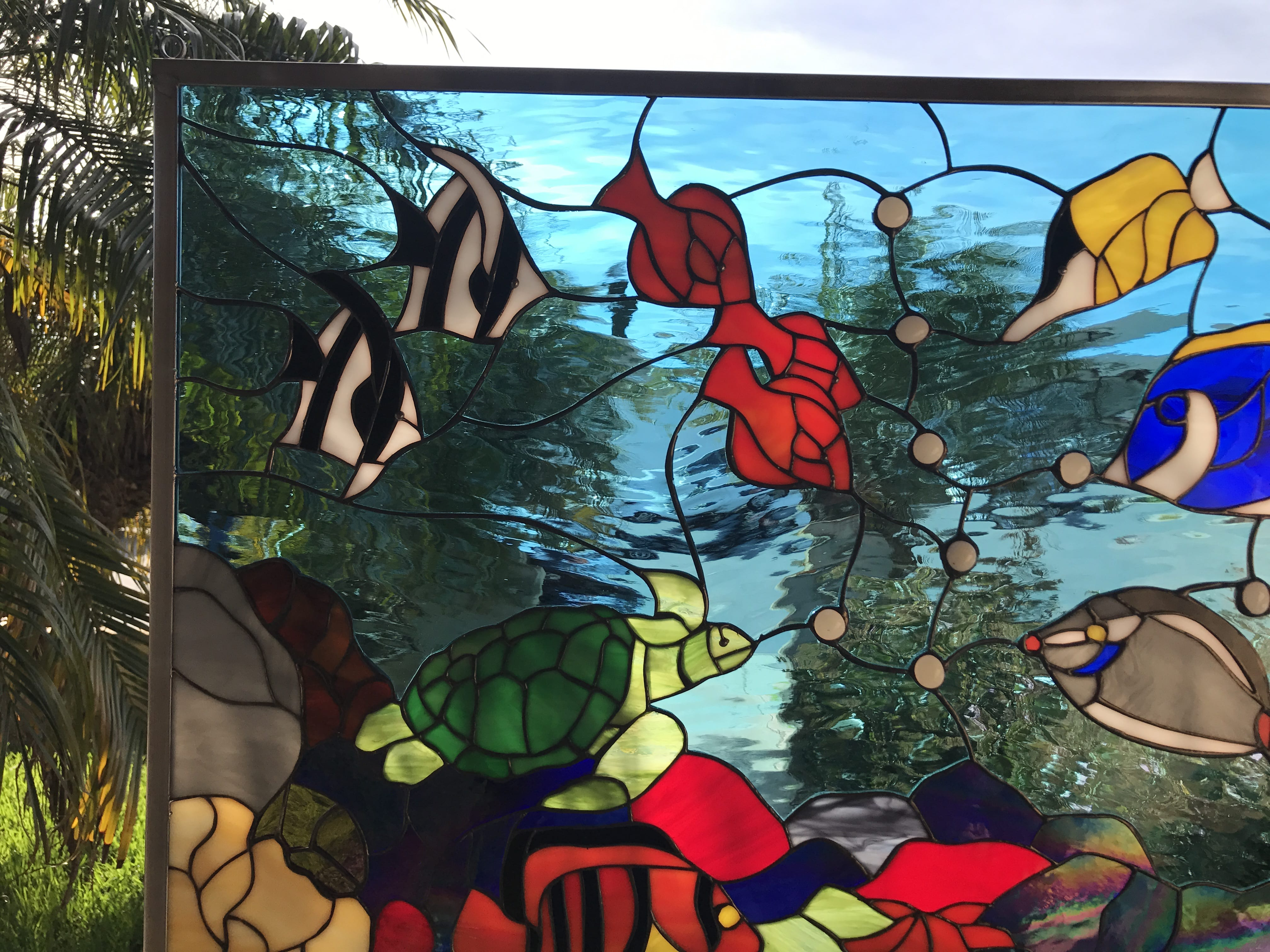 the  u0026quot fishtank u0026quot  colorful sea coral  clownfish  u0026 turtle leaded stained glass window panel