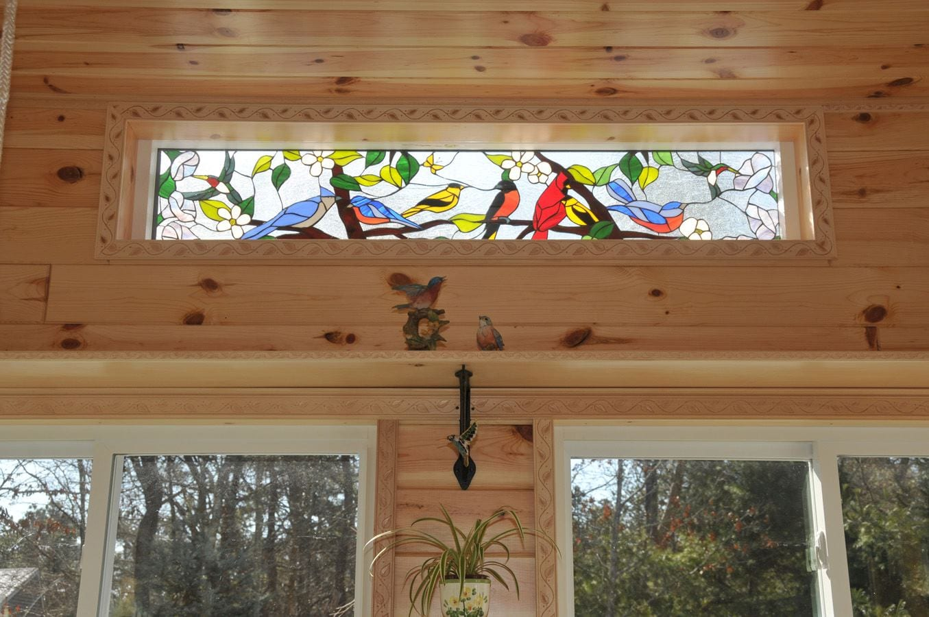 Colorful Quot Bird Gathering Amp Blossoms Quot Stained Glass Transom
