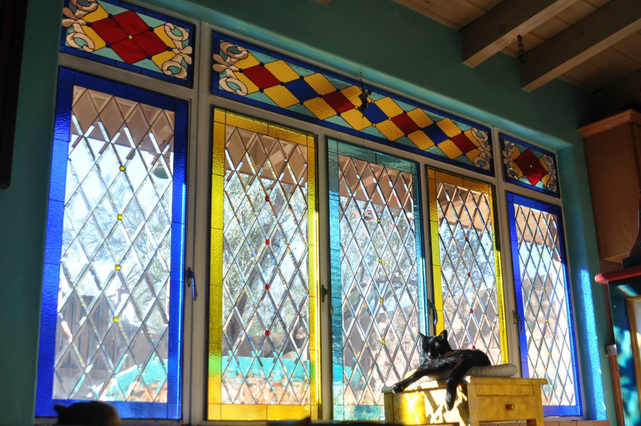 Clear Leaded Glass : Wow colorful victorian transom clear beveled diamond