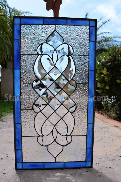 Clear Leaded Glass : The quot laguna clear beveled iridescent ice crystal leaded