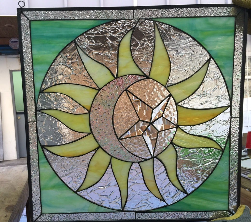 mystical sun  moon  u0026 beveled star leaded stained glass window panel